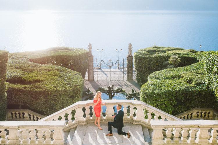 Una romantica proposta di matrimonio sul Lago di Como